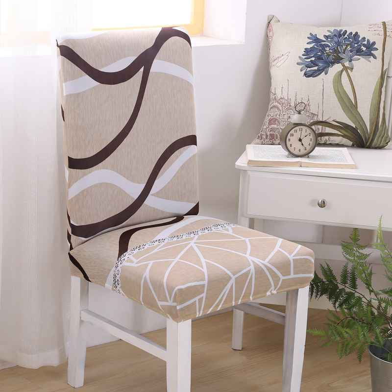 Wholesale Simple Printed Chair Cover Removable Stretch Office/Home/Restaurant Chair Cover Soft Polyester Dining Room Chair Cover