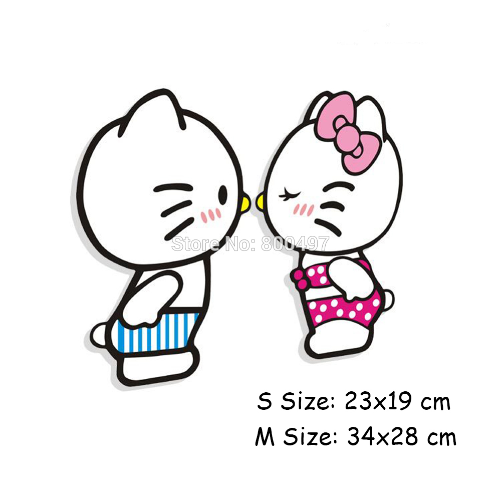 Hello Kitty Sessel Us 4 19 Newest Creative Lovely Hello Kitty Lovers Kiss Car Sticker Car Decal For Tesla Toyota Volkswagen Chevrolet Ford Hyundai Kia Lada In Car