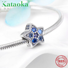 FIVE-Pointed Star 925 Sterling Silver Blue CZ Charms BEAD Fit Pandora Charm สร้อยข้อมือเครื่องประดับ(China)