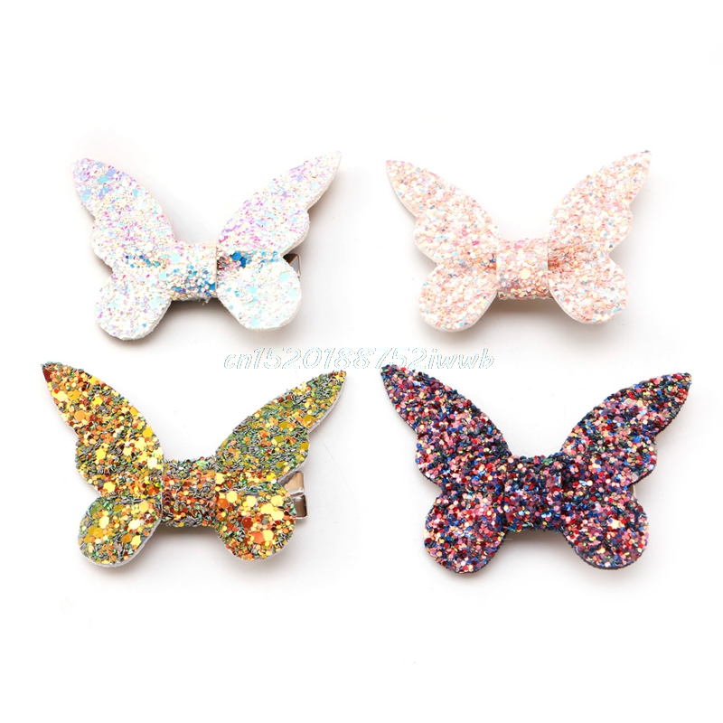 Children Lovely Hair Accessories butterfly Leather Gravel Bow Hairpin #T026#