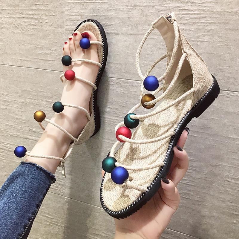 Heels Sandals Pumps Hemp-Rope Summer Shoes Woman Colorful Gladiator Beads Handmade