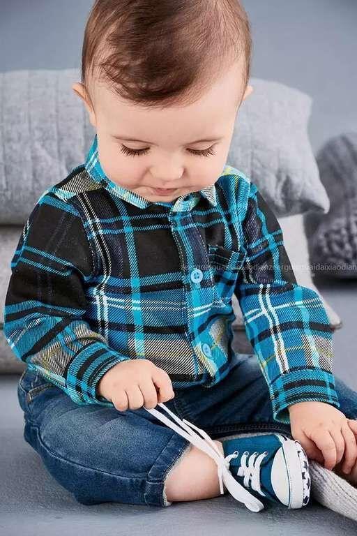 2017 Fashion Gentleman Baby Boy Clothes 2pcs Infant clothing sets plaid shirt romper+jeans baby boy suit set 2pcs set baby clothes set boy
