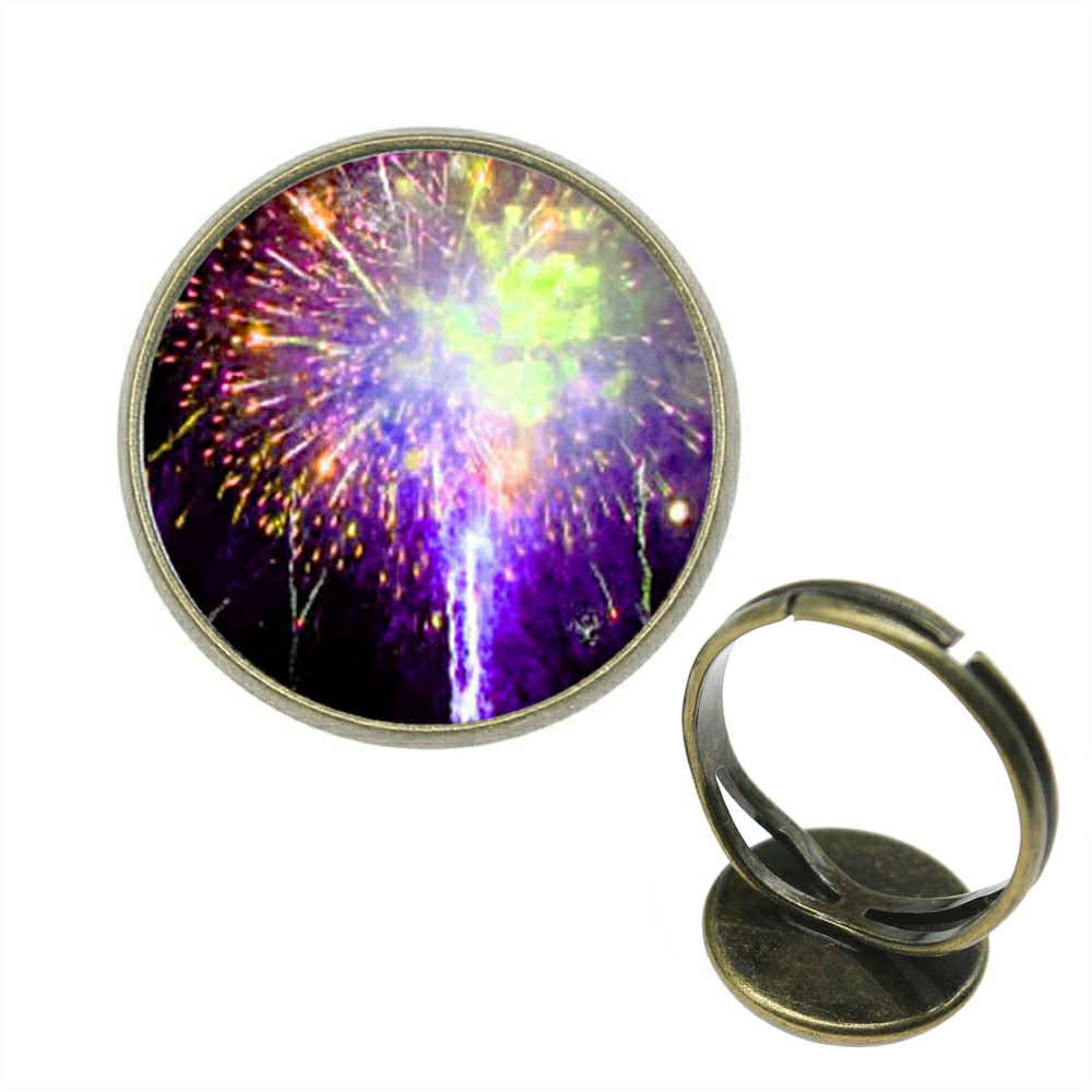 Rings Diplomatic 10pcs Rings For Girl 5 Colors 20mm 12mm Fireworks Pattern Glass Cabochon Adjustable Ring For Women Rb-z-g1757