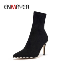 ENMAYER Top quality women kid suede solid pointed toe slip-on ankle boots lady thin heel fashion boots ZYL769 ladies suede comfort thin heel ankle boots fashion slip on pointed toe stretch women fall winter bootie black brown gray