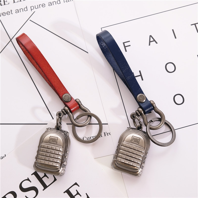 FPS Game PUBG Player Unknowns Battle Grounds Bag Backpack 3D Keychain Alloy Black Red Blue Leather Keyring Pendant Weapons