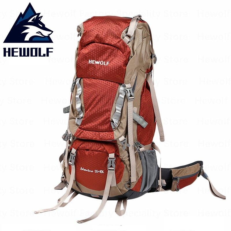 Hewolf 65L sac d'escalade en plein air sac à dos de randonnée professionnel imperméable à l'eau de haute qualité résistance à la déchirure tissu Camping sac Sprots