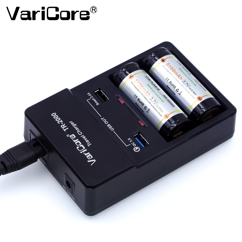 VariCore TR-2000 battery <font><b>charger</b></font> and Quick Charge 3,<font><b>0</b></font> for 18650 26650 AA AAA batteries and <font><b>QC</b></font> 3,<font><b>0</b></font> / USB 5V mobile devices.