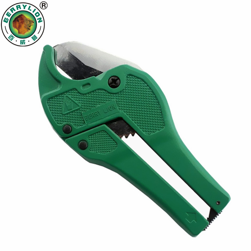 BERRYLION 42mm Plastic Pipe Cutter PVC/PU/PP/PE Hose Water Tube Scissors Aluminum Alloy Body Ratcheting Cutting Hand Tools pvc pipe cutter pc 303 handle tools cutter scissors cutting pvc pipe