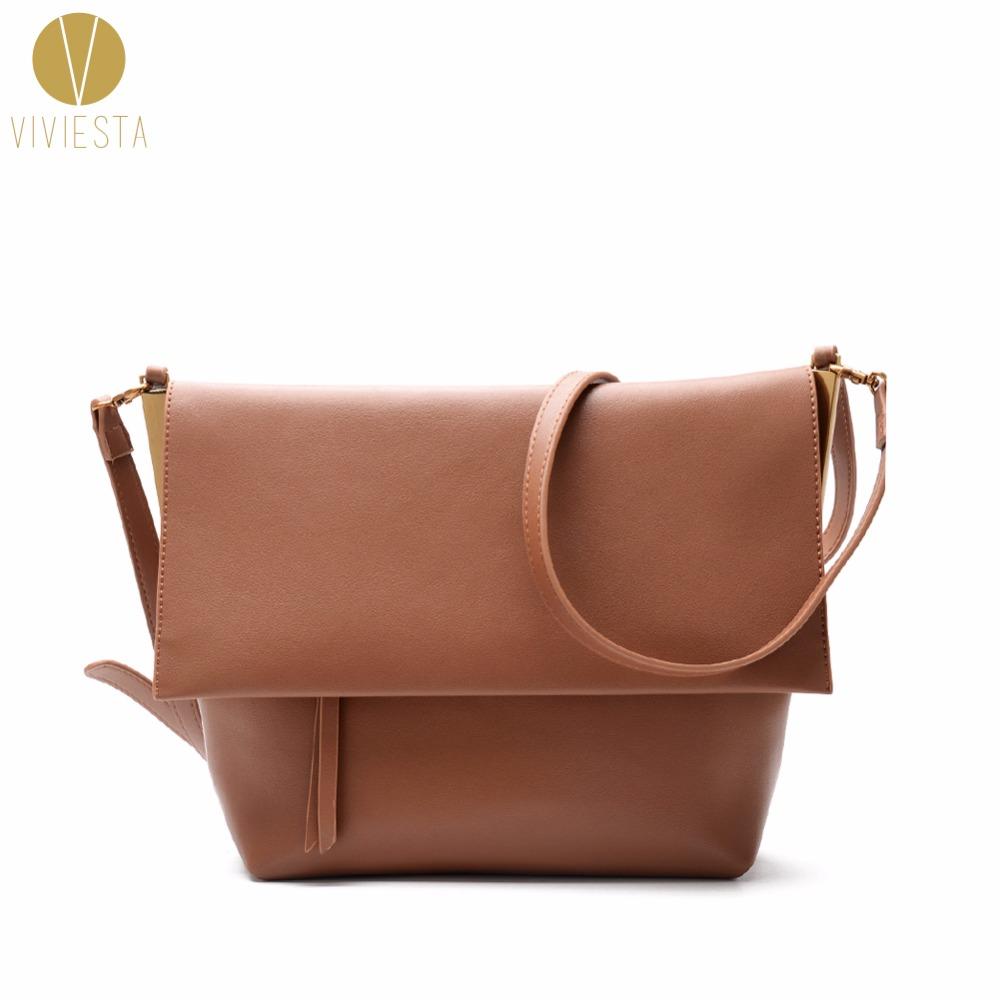 GENUINE LEATHER FOLD OVER SHOULDER BAG - Womens 2018 Fashion Trend Minimal Design Large Business Work Cross Body Bucket Handbag