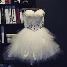 Sexy Ballkleid Liebsten Perlen Diamant Weiße Feder Cocktailkleider 2015 Formal Short Prom Kleider robe de cocktail TE46