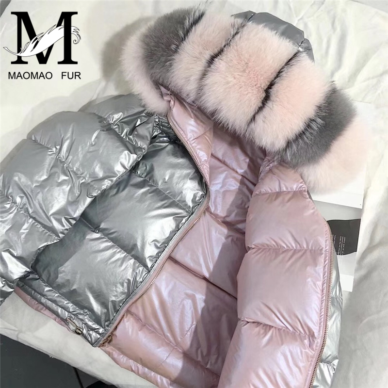 Winter Women's 90% White Duck   Down   Jacket New Fashion 2018   Down     Coat   Large Real Fox Fur Hooded Parka