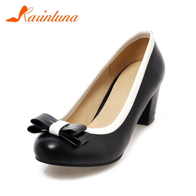 KarinLuna Women's Sweet Bowtie Shoes Woman square high Heels Round Toe spring summer shoes Pumps Big Size 33-43
