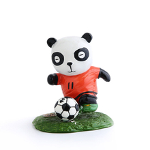 E-FOUR Chinese Hand-paint Football Panda Resin Dashboard Auto Interior Decoration Car Home Office Ornament Best Holiday Gift