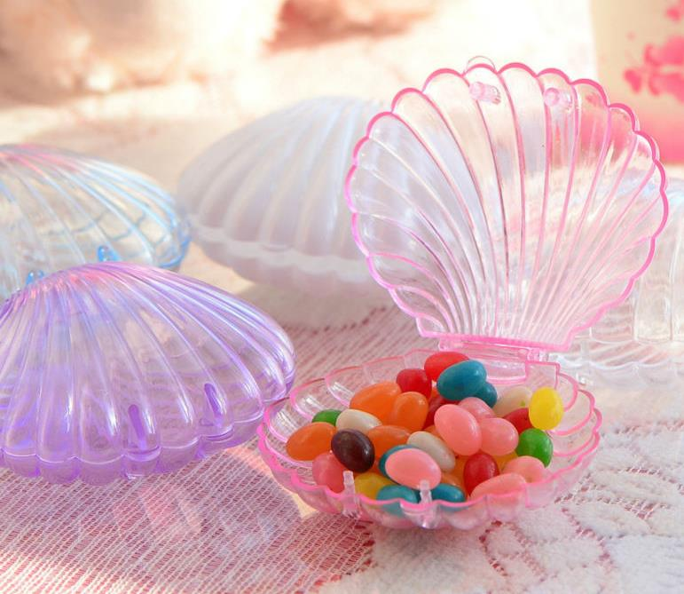 Beach Theme Home Decor Shadow Box Beach Gift: Clear Plastic Shell Candy Box Beach Theme Wedding Birthday