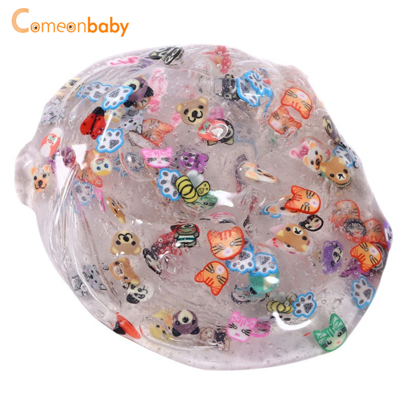 Glowing Slime Fluffy Mud Animail Candy Crystal Colorful DIY Soft Transparent Clear Slime Plasticine Vent Anti Stress Toys pink floral towels