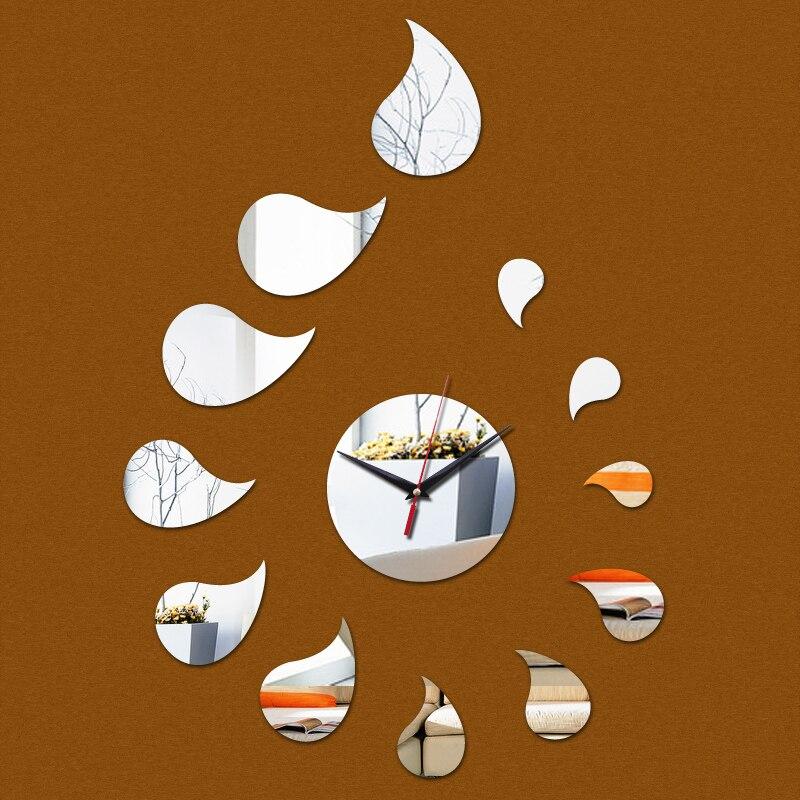 Rushed  Led Quartz Wall Clock New Acrylic Mirror Rain Drop Clocks Real Watches 3d Modern Stickers Home Decor
