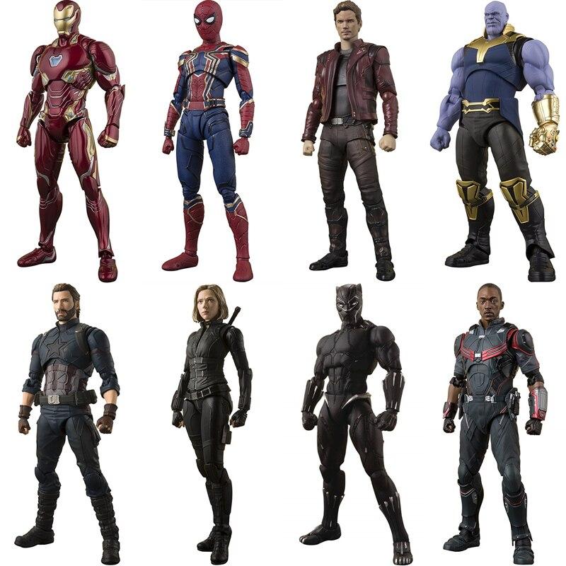 Avengers Infinity War fer araignée Dr étrange étoile seigneur capitaine américain Thanos SHF jouet figurine modèle