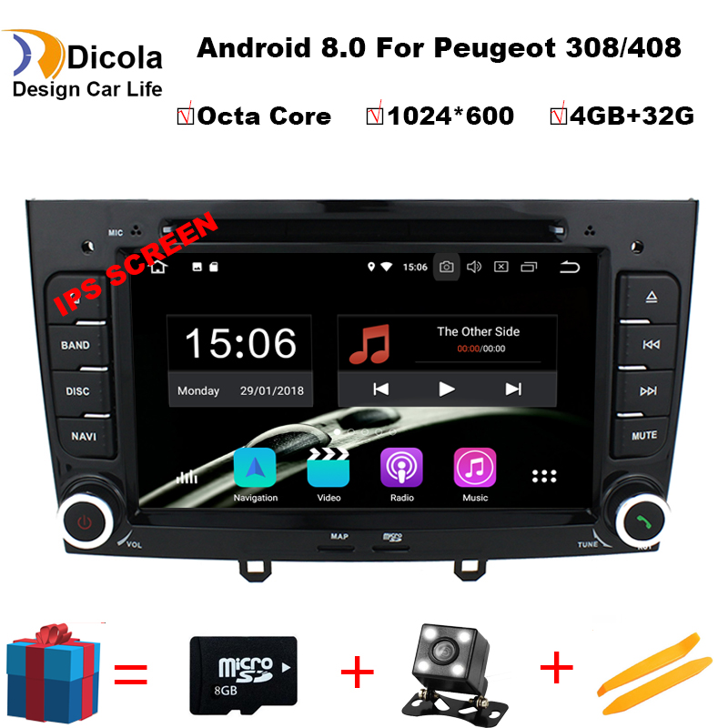 4GB RAM Octa Core Android 8.0 Multimedia Car DVD Navigation For peugeot 408/308/308SW Autoradio Stereo headunit Support OBD DAB+-in Car CD Player from Automobiles & Motorcycles