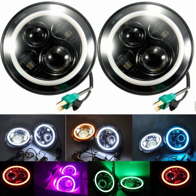7Inch Round Led Headlight for 97 15 font b Jeep b font Wrangler with Halo Angel halo fog lamp wiring diagram 2001 honda odyssey fuse box diagram halo fog lights wiring diagram at readyjetset.co