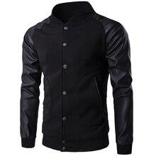 Neue Trend Schwarz Varsity Jacke Männer/Jungen Bombers Veste Homme 2016 Mode Pu-leder Sleeve Slim College Baseball Jacke für Herbst