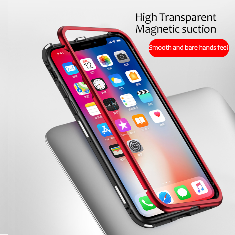 Suntaiho Ultra Magnetic Adsorption Phone Case For iPhone XS MAX R 8 7 6S Plus Coque Luxury Metal Magnet Back Glass Cover Fundas