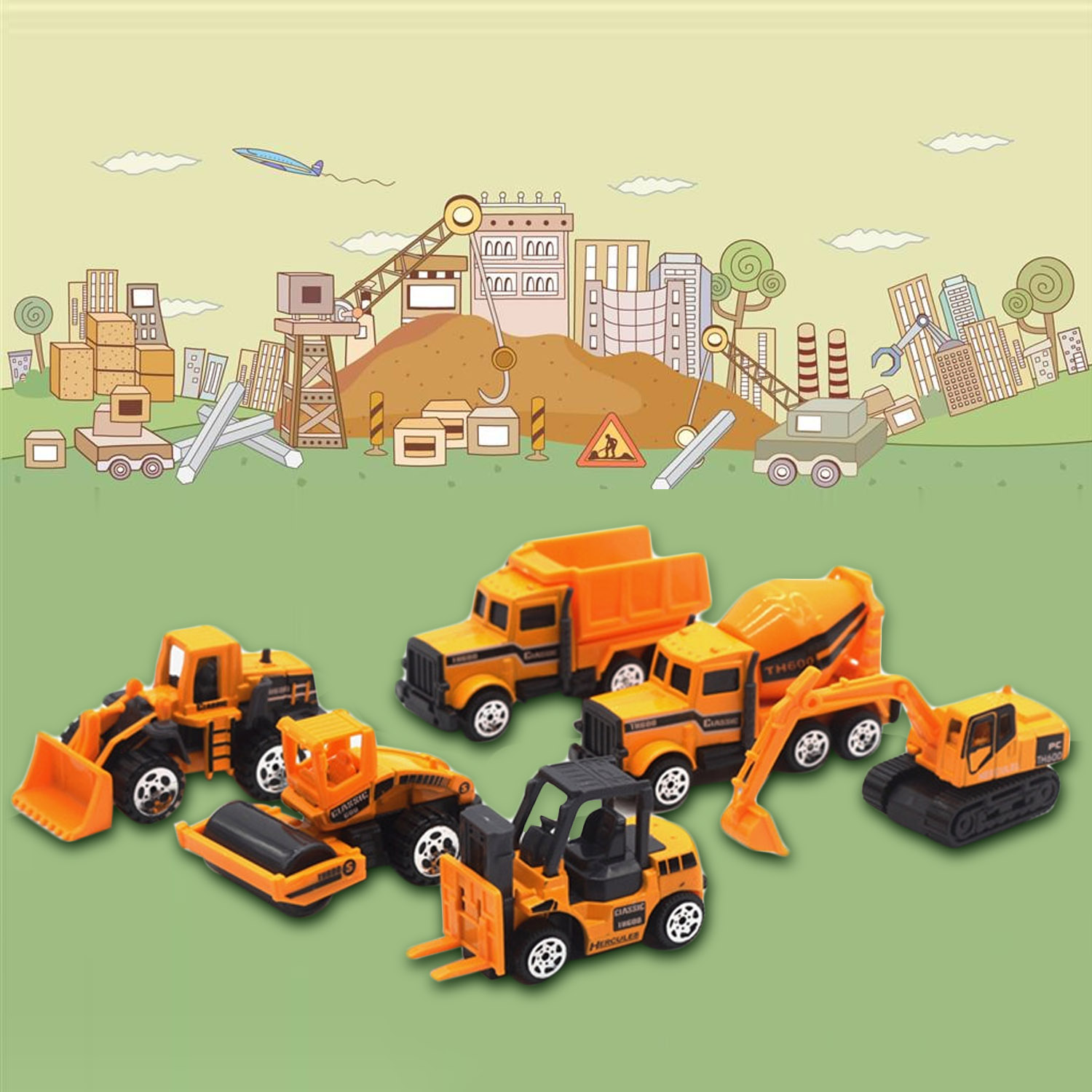 Satkago 6 PCS Mini Pull Back Truck Car Toy Construction Engineering Vehicle Toys for Children Boys Party Favors Kids Birthday