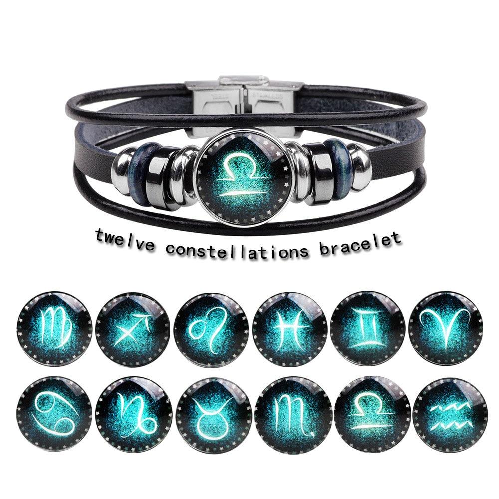 Модные кожаные бриллианты Kirykle с двенадцатью созвездиями, ювелирные изделия для мужчин и женщин, Плетеный веревочный браслет, ювелирные изд...