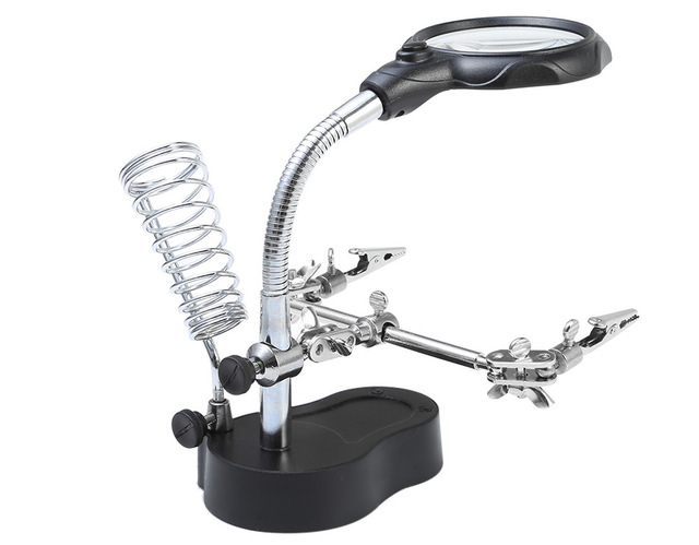 Magnifying Tool Alligator Clip Soldering Solder Iron StandMagnifying LED Light 3.5X 12X Magnifier Repair Tools Loupe
