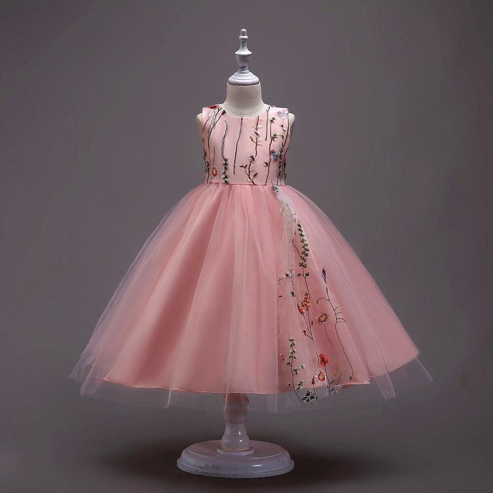 Girl Pure Color Princess Flower Tulle Dresses Flower Girl Dresses For Wedding
