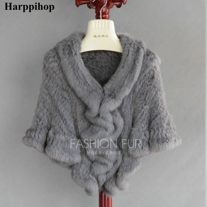 7COLORS Product real rabbit fur knitted cape ruffle hem rex rabbit fur cloak cape Women Genuine Knitted Fur Cape Shawl Wrap in Women 39 s Scarves from Apparel Accessories