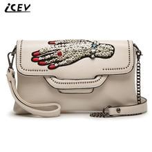 ICEV New Arrival Diamonds Design Handbag High Quality Chain Women Messenger Bag Ladies Day Clutch Shoulder