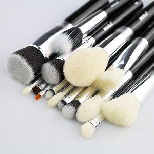 Image 2 - BEILI pelo di capra Big Powder Foundation fard contorno ombretto set di pennelli trucco professionale nero pennello cosmetico