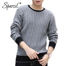 Sparsil Men New Winter Angora Knitted Sweater Spring O Neck Thick Warm Pullover Knitwear Casual Classic Male XXXL Sweater Jumper