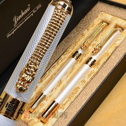 JINHAO 1000 สีขาว ROLLER ปากกาและปากกาชุดปากกา FOUNTAIN กับกล่องต้นฉบับ