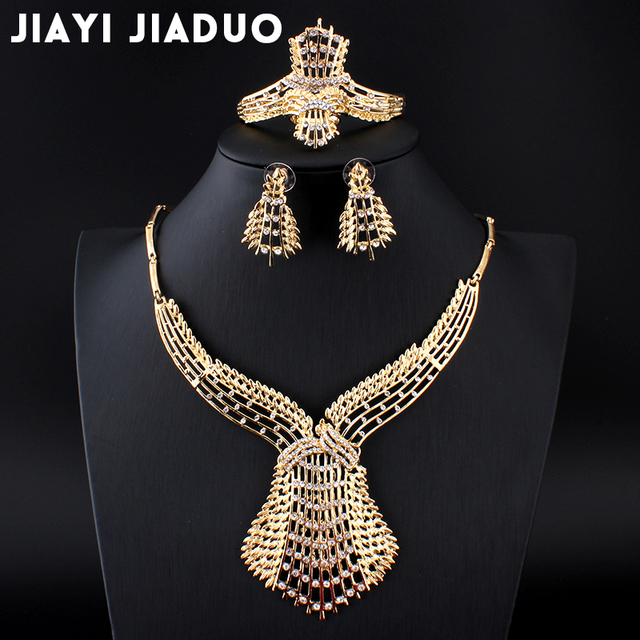 jiayijiaduo wedding jewelry set  gold-color crystal necklace earrings bracelets rings women clothing accessories 2017 necklace