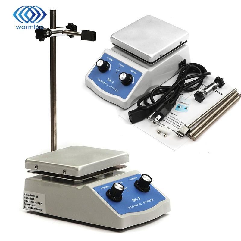 Durable Quality 110V/50Hz SH-2 Hot Plate Magnetic Stirring Machine Stir Healthcare Lab Stepless Adjustable sh 2 50hz magnetic blender hot plate stirrer dual control machine stir 1 inch stir bar c3 liquid mixing 220v