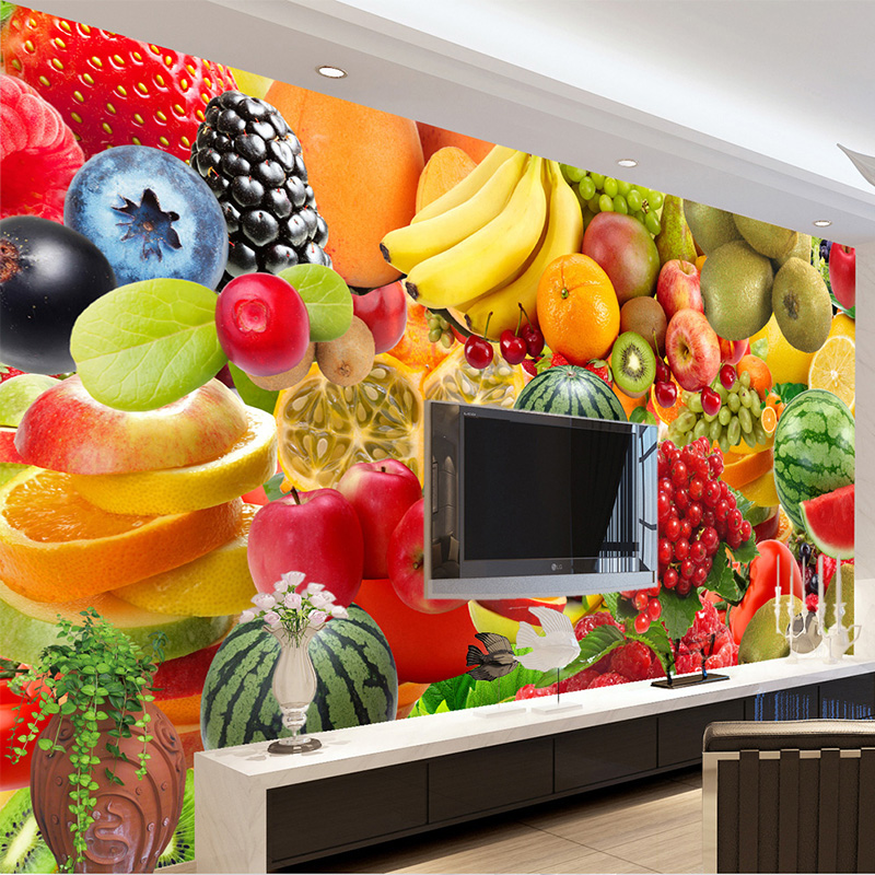 Custom Any Size Mural Wallpaper Modern 3D Stereo Fruit Photo Wall Paper Kitchen Fruit Shop Background Wall Decor Papel De Parede