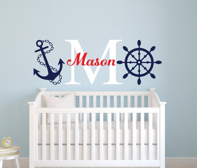 Nautical 55x180cm Sailor Name Wall Sticker Personalized Nursery Boys Room Decor Decal Diy Removable