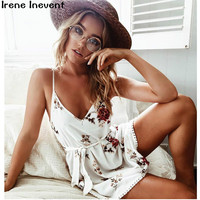 Irene Inevent Women Summer Dress 2017 Women Floral Print Beach Mini Spaghetti Strap Dresses Woman Bohemian