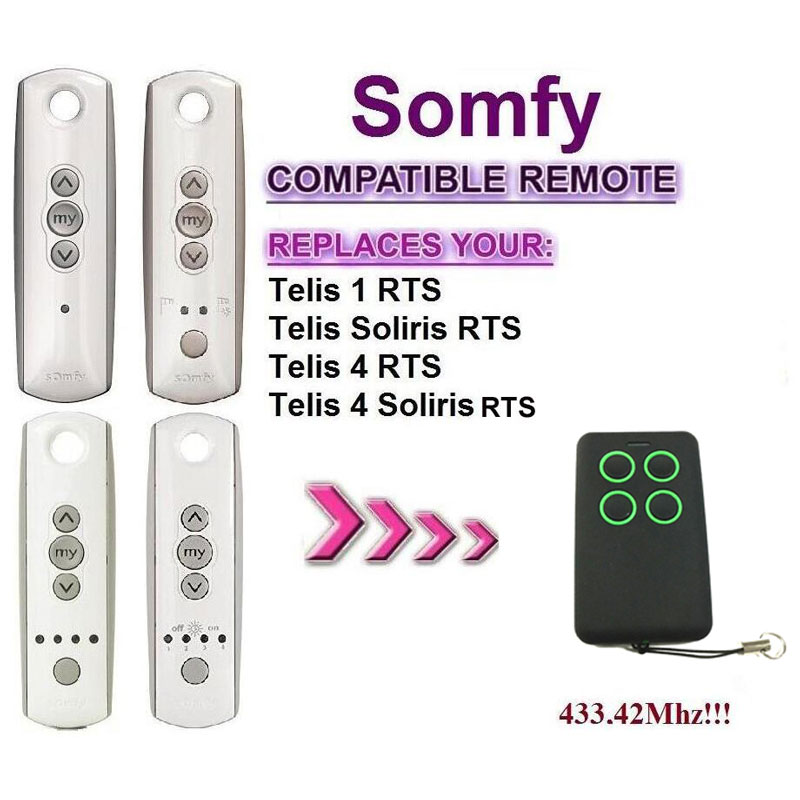 For Somfy Telis 4 RTS, Somfy Telis 4 Soliris RTS rolling code transmitter remote duplicator somfy telis 4 rts somfy telis 4 soliris rts compatible garage door remote control 433 42mhz free shipping