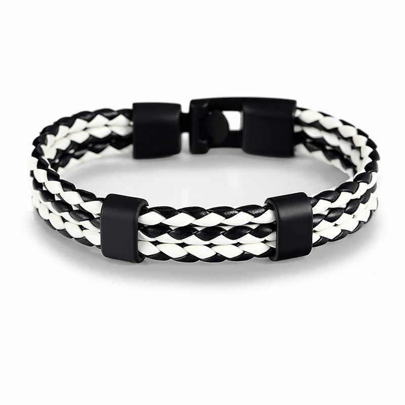 MKENDN FASHION Men Women Black Leather Bracelet Easy-hook Bracelets & Bangles Male Female Punk Jewelry Pulseras