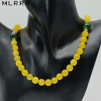 Natural Stone Jewelry Noble Romantic Cute Yellow Sapphires Beaded with Green Tourmalines Charms Chain Necklace for Women Girls