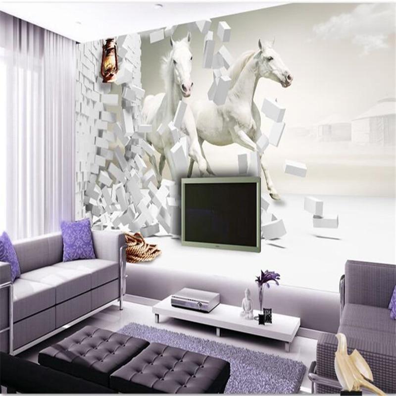 Beibehang 3d Photo Papier Peint Télévision Européenne Salon Chambre Créatif  Perspective Schéma Whitehorse Mural Papier Peint Mural Dans Fonds Du0027écran  De ...