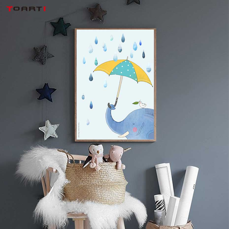 Image 5 - Cartoon Animals With Umbrella Prints Posters Elephant Canvas Painting On The Wall Enjoy The Day Life Quotes Kids Bedroom Decor-in Painting & Calligraphy from Home & Garden
