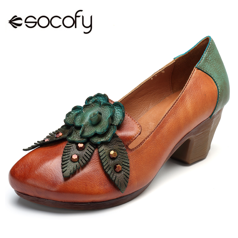Socofy Vintage Flower Pumps Heels Woman Genuine Leather Pumps Women Shoes Summer Casual Ladies Shoes Block Heels Spring Fall New цена 2017