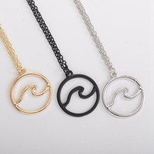 1pcs Silver Wave Surf Necklace Surf Jewelry Mermaid Jewelry, Surfer gift, Ocean(China)