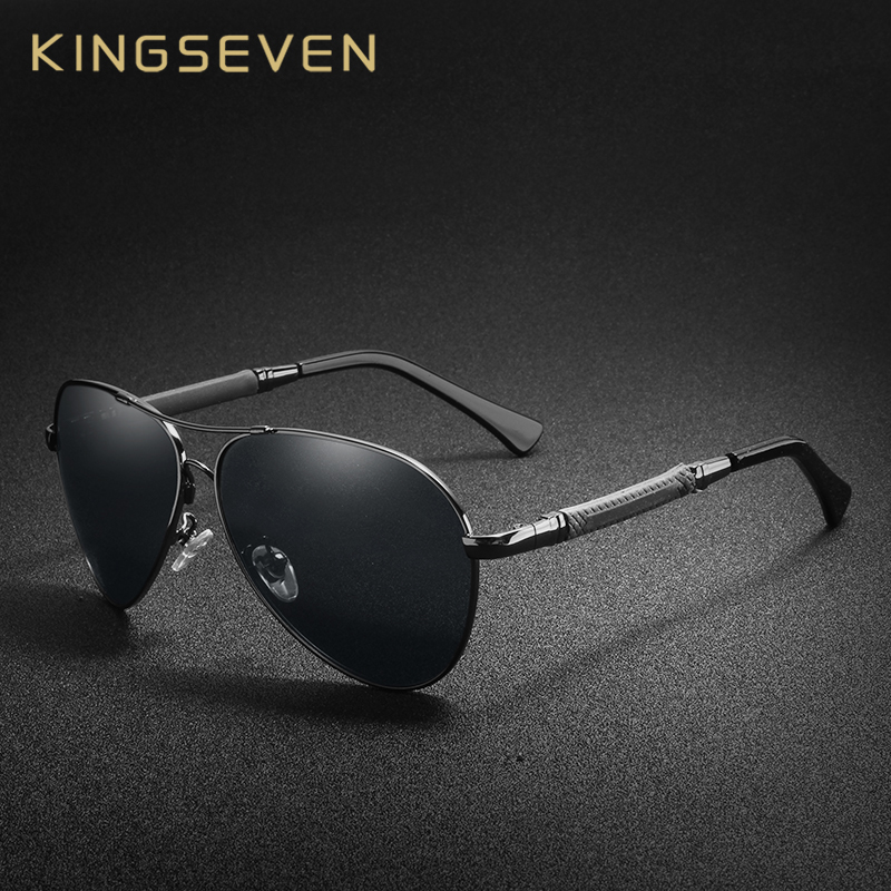 KINGSEVEN High Quality Pilot Sunglasses Men Polarized UV400 Sun glasses Goggle Oculos De Sol Accessories Driving Eyewear-in Men's Sunglasses from Apparel Accessories