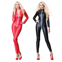Sexy Women Long Zipper Open Crotch Bodysuit PU Punk Catsuit Shiny Faux Leather Full Bodysuit Plus Size Erotic Lingerie F47