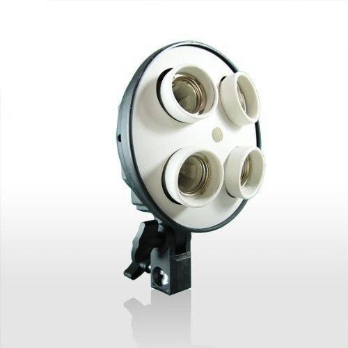 4 In 1 E27 Bulb Holder 4 Sockets Base Socket Photography Light Holder Video Light Lamp Bulb Adapter For Photo Studio Softbox