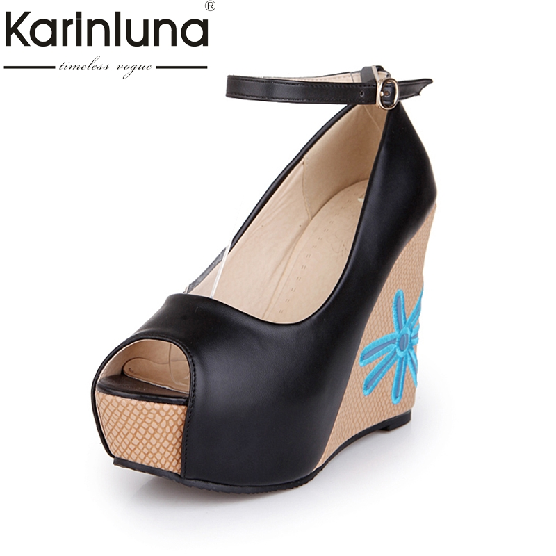 KARINLUNA brand shoes women size 33-41 peep toe pumps women shoes sexy embroidery wedge high heels wedding shoes woman